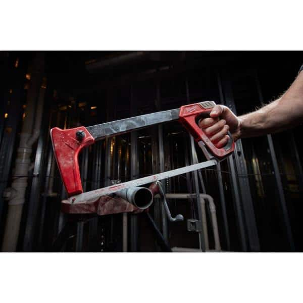 High-Tension Hack Saw with 10-12 inches 24 TPI Bi-Metal Blade and Blade Storage