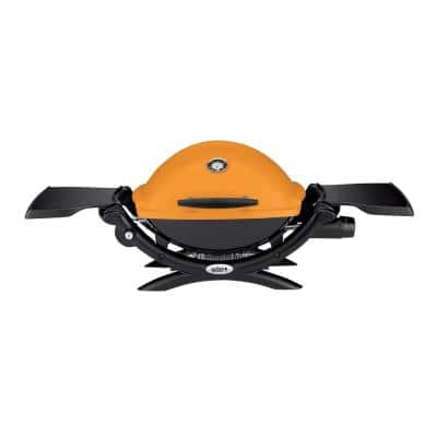 Q 1200 1-Burner Portable Tabletop Propane Gas Grill in Orange with Built-In Thermometer