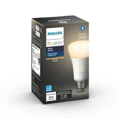 White A19 LED 60-Watt Equivalent Dimmable Smart Wireless Light Bulb with Bluetooth