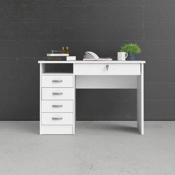 Tvilum 43 In Rectangular White 5, Desk With Locking Drawers