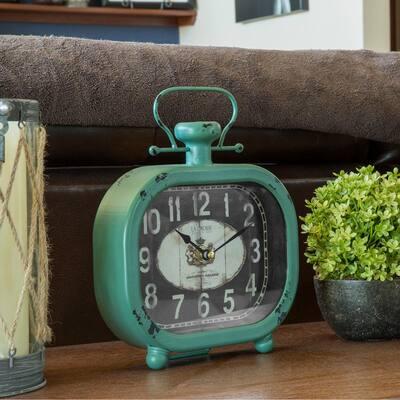 Distressed Teal Quartz Metal Decorative Clock