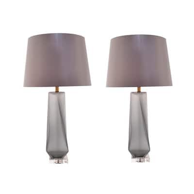 Calla 28 in. Smoke Grey Indoor Table Lamp (Set of 2)
