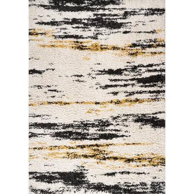 Nova Modern Bold Strie' Shag Beige/Black/Yellow 8 ft. x 10 ft. Area Rug