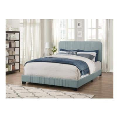 All-in-One Blue King Bed with Channeled Headboard and Footboard