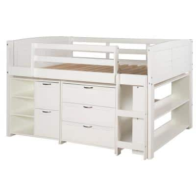 White Twin Louver Low Loft Bed with 3 and 2-Drawer Chests and Shelves