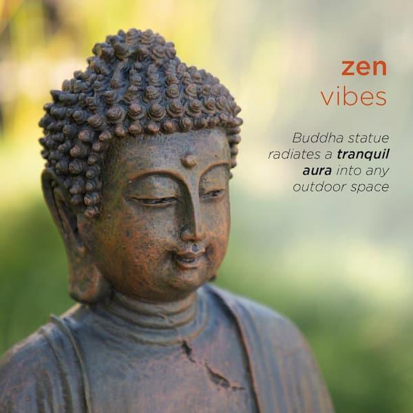 Alpine Corporation 15 In Tall Indoor Outdoor Meditating Buddha Statuary Decor Gem170 The Home Depot