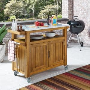 Maho Golden Brown Teak Outdoor Barbeque Cart Serving Bar