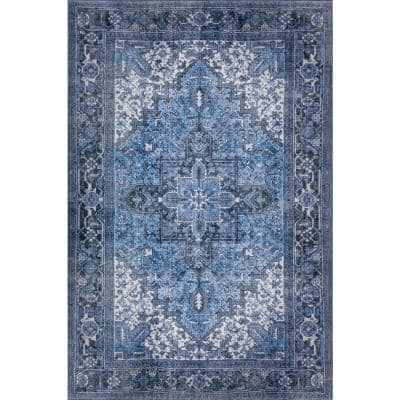 9 X 13 Distressed Blue Area Rugs