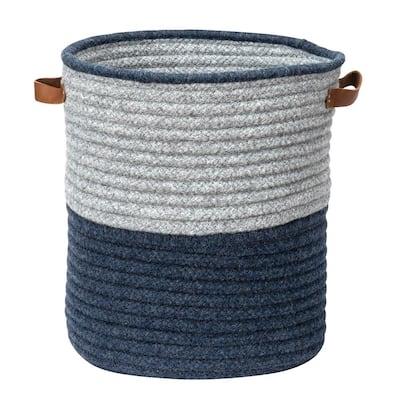 Casa Mesa Navy 16 in. x 16 in. x 20 in. Round Blended Wool Basket