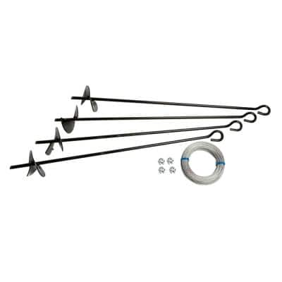 Auger Anchor Kit (set of 4 Anchors and 4 Clamps) with Steel Construction and Strong Wind Design