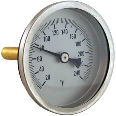 Bi-Metal Dial Thermometer Angle Outlet with Brass Well with 1-1/8 in. Stem and 1/2 in. NPT (20 to 240°F)