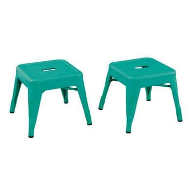 Kids Teal Blue Metal Stool (2-Pack)
