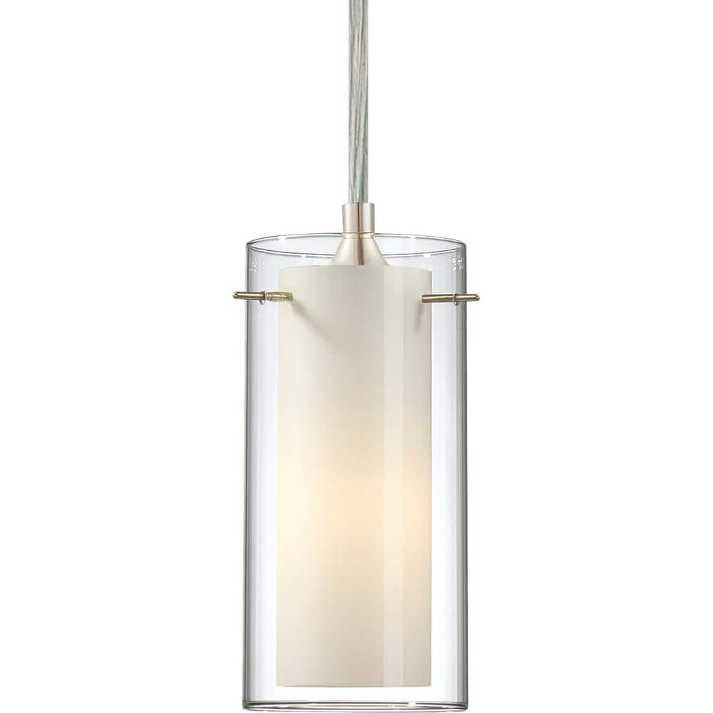 Volume Lighting Esprit 1 Light Brushed Nickel Mini Hanging Pendant Clear Glass Outer And White Cased Glass Inner Cylinder Shades 2451 33 The Home Depot