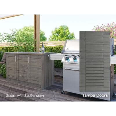 Tampa Weatherwood 14-Piece 55.25 in. x 34.5 in. x 25.5 in. Outdoor Kitchen Cabinet Island Set