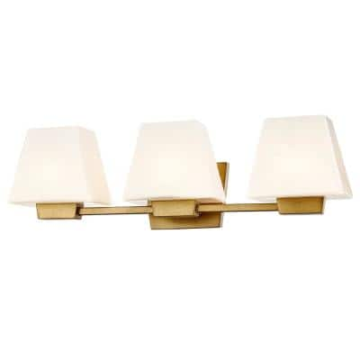 Fifth And Main Lighting Loire 3 Light Antique Gold Wall Sconce With Glass Shade Wl 2047 The Home Depot