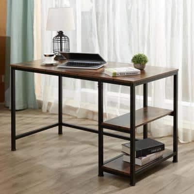 47 in. Deep Walnut Writing Desk Computer Table with 2 Tier Shelves