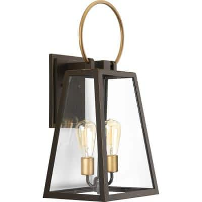 Barnett Collection 2-Light Antique Bronze Clear Glass Farmhouse Outdoor Large Wall Lantern Light