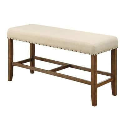 Saina Rustic Ivory Linen Wooden Counter Height Bench