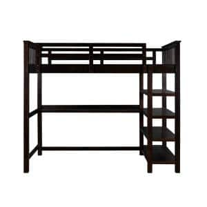 Espresso Rubber Wooden Full Size Loft Bed with Storage Shelves and Under-bed Desk