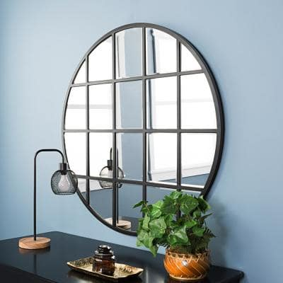 Medium Round Black Modern Mirror (40 in. H x 40 in. W)