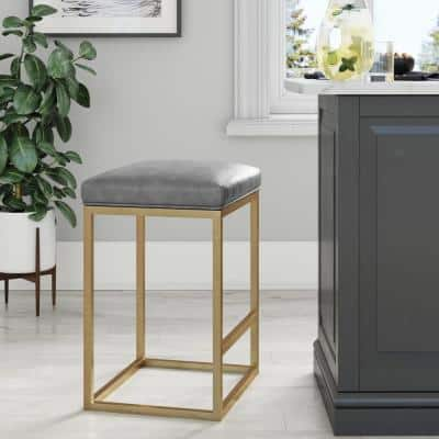 Nelson 24 in. Gray Leather Cushion and Gold Stainless Steel Frame Metal Bar Stool
