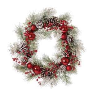 24 in. D Flocked Pinecone and Ornament Wreath