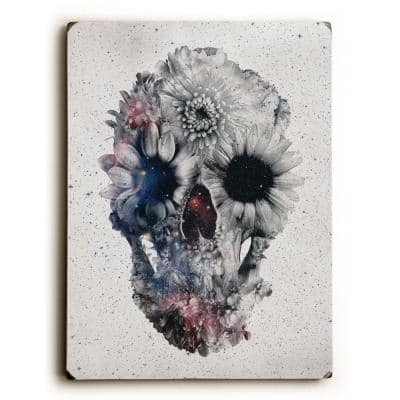 """9 in. x 12 in. """"Floral Skull 2"""" by Ali Gulec Solid Wood Wall Art"""
