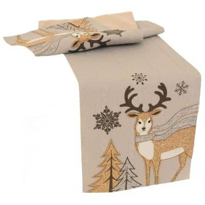 72 in. x 13 in. Cozy Reindeer Christmas Table Runner