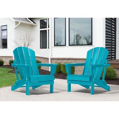 Addison Outdoor Folding Plastic Adirondack Chair (Set of 2)-Turquoise