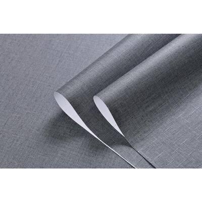 Linen Texture Vinyl Peel and Stick Wallpaper Roll, DarkGrey, 2 ft. x 33 ft./Roll(2 Roll)