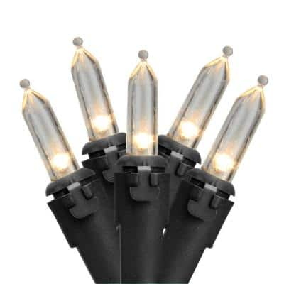 Set of 50 Warm White LED Mini Christmas Lights with Black Wire