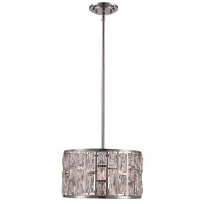 Vibrant 3-Light Polished Chrome Drum Pendant with Crystal Shade
