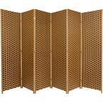 6 ft. Brown 2-Tone Woven Fiber 6-Panel Room Divider