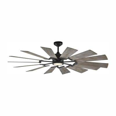 Prairie 62 in. LED Indoor/Outdoor Aged Pewter Ceiling Fan with Light Kit and Light Grey Weathered Oak Blades and Remote
