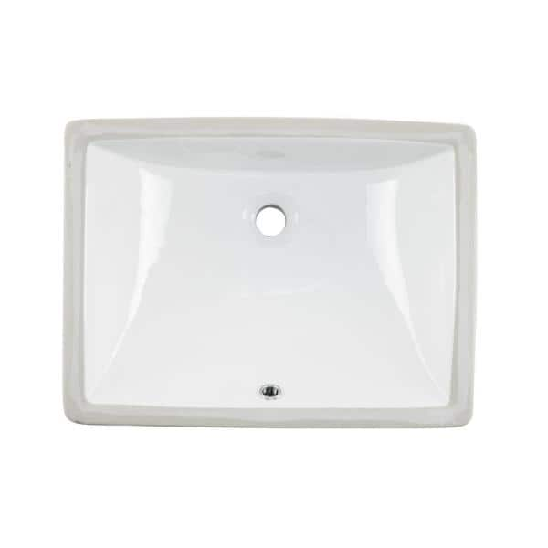 Cahaba 18 In X 13 In Glazed Porcelain Bathroom Sink In White Ca425t1813 W The Home Depot