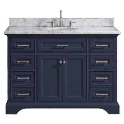 Home Decorators Collection Windlowe 61 In W X 22 In D X 35 In H Bath Vanity In Navy Blue With Carrara Marble Vanity Top In White With White Sink 15101 Vs61c Nb The