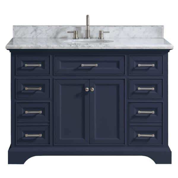 Home Decorators Collection Windlowe 49 In W X 22 In D X 35 In H Bath Vanity In Navy Blue With Carrara Marble Vanity Top In White With White Sink 15101 Vs49c Ng The