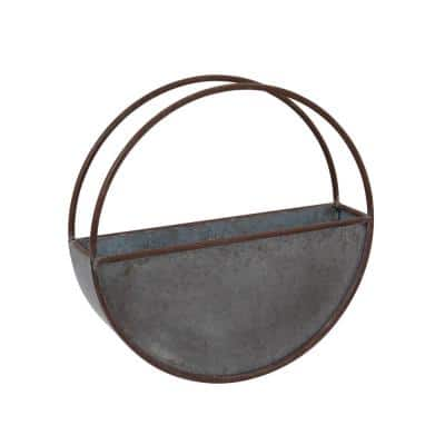 17.7 in. Galvanized Metal Hanging Wall Planter