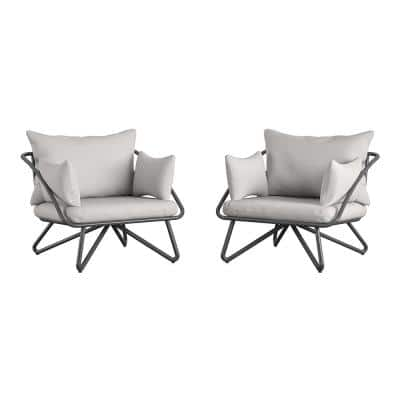 Novogratz Poolside Gossip Teddi Modern Metal Outdoor Lounge Chair with Gray Cushions (2-Pack)