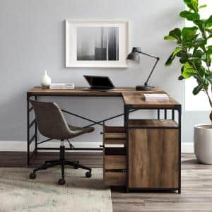 L-Shaped Rustic Oak and Metal Industrial 2-Drawer Computer Desk with File Storage