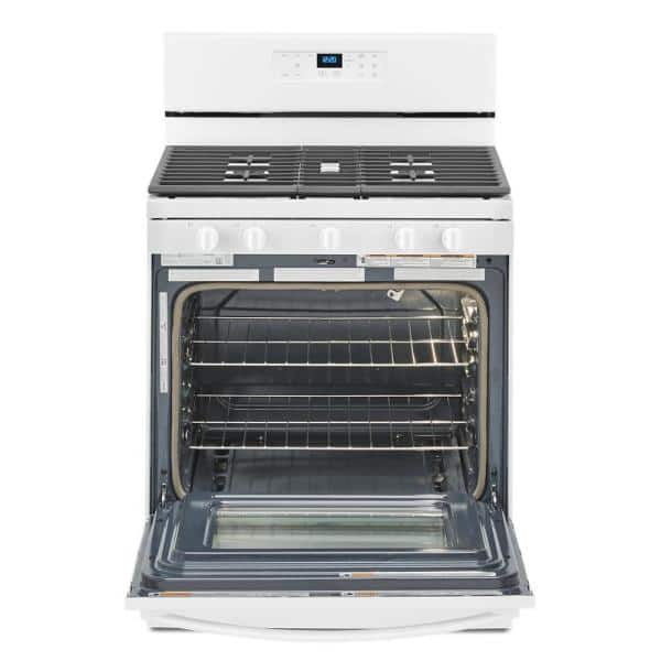 Whirlpool 5 0 Cu Ft Gas Range With Self Cleaning And Center Oval Burner In White Wfg525s0jw The Home Depot