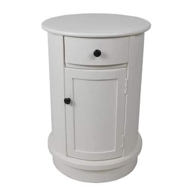 Keaton White Round Storage Side Table