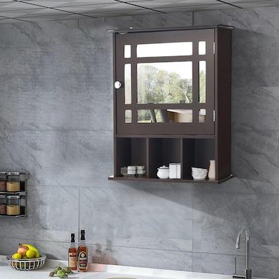 50 in. W Mirrored Medicine Wall Cabinet Bathroom Wall Mounted Storage W/Adjustable Shelf Brown