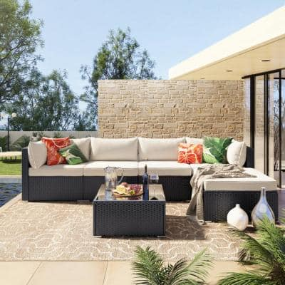 Summbery Black 6-Piece Rattan Outdoor Patio Conversation Sectional Set w/ Beige Cushions and Coffee Table