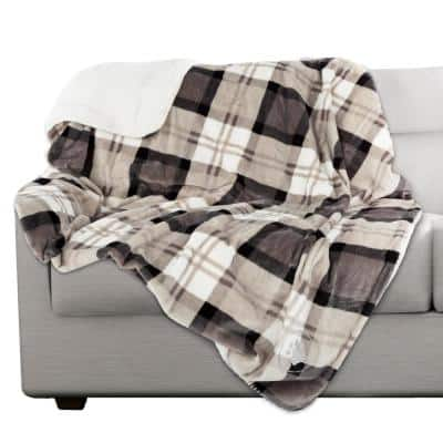 50 x 60 in. Gray Plaid Machine Washable Waterproof Pet Blanket