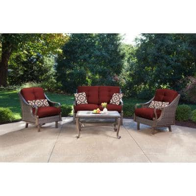 Ventura 4-Piece All-Weather Wicker Patio Seating Set with Crimson Red Cushions