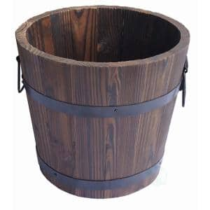 Medium Wooden Whiskey Barrel Planter, 15 in. Dia x 12 in. High