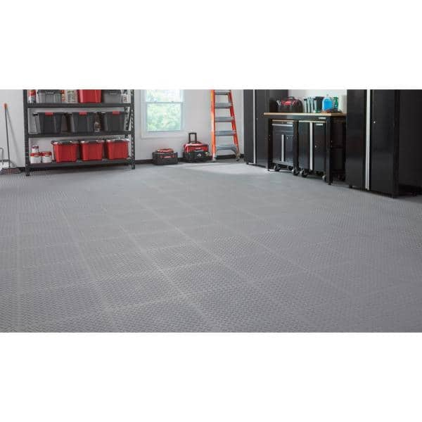 Gray Pvc Garage Flooring Tile 6 Pack