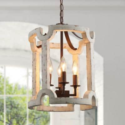 Jolla Farmhouse 4-Light Rustic Bronze Drum Chandelier Weathered White Wood Foyer Pendant