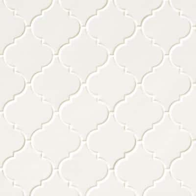 Whisper White Arabesque 10-1/2 in. x 15-1/2 in. x 8 mm Glossy Ceramic Mesh-Mounted Mosaic Wall Tile (11.7 sq. ft. /case)